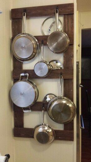 My Pallet Pot And Pan Rack Pan Storage Diy Pot Rack Hanging