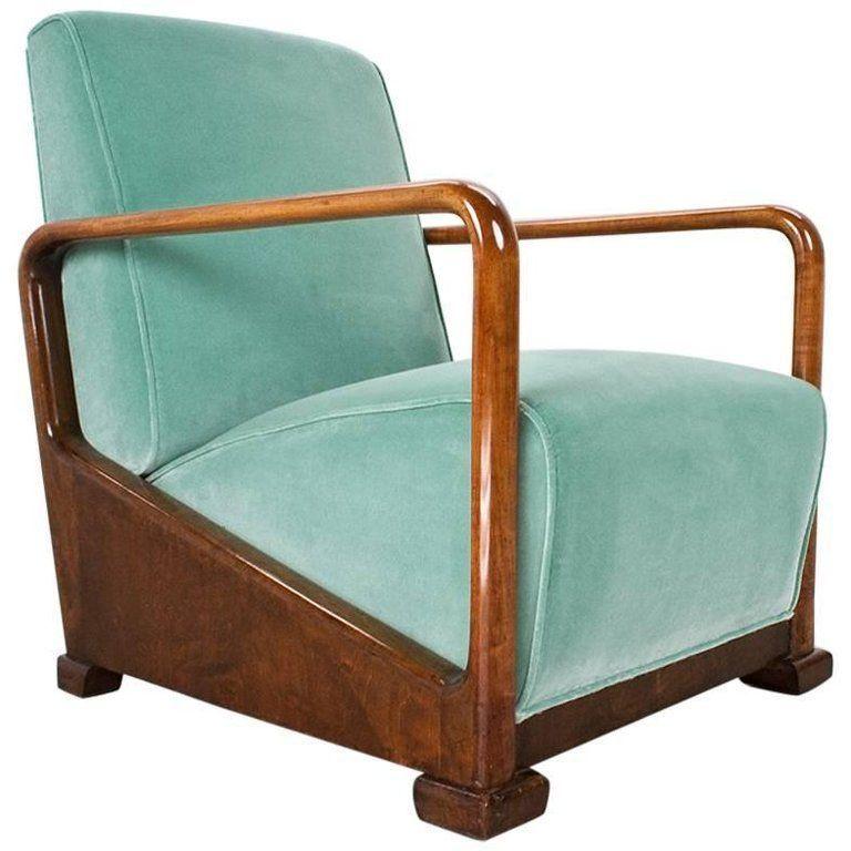 Art Deco Antique Elm Lounge Chair In New Velvet 1934 Dutch Design 1 Homefurniture
