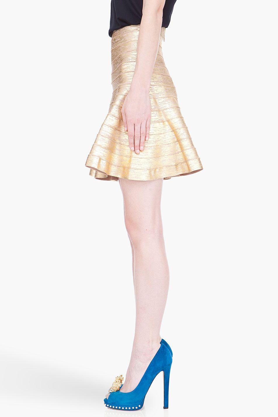 Herve leger gold distressed paneled skirt wish list pinterest
