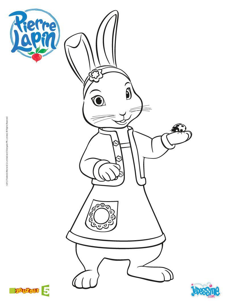 Coloriage Pierre Lapin Coloriage Lily Peter Rabbit Birthday Birthday Cake Illustration Rabbit Crafts