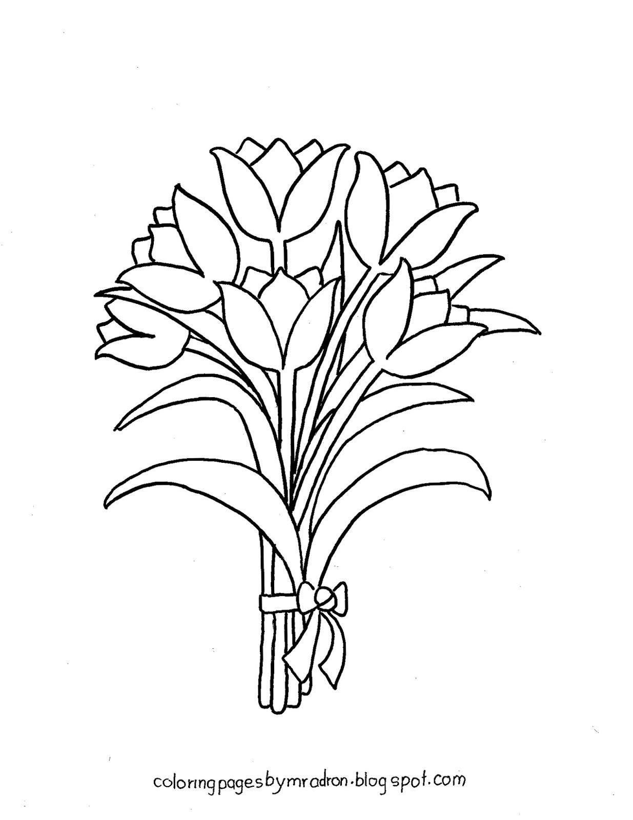 Coloring Pages for Kids by Mr. Adron: Printable Tulips Bunch with ...