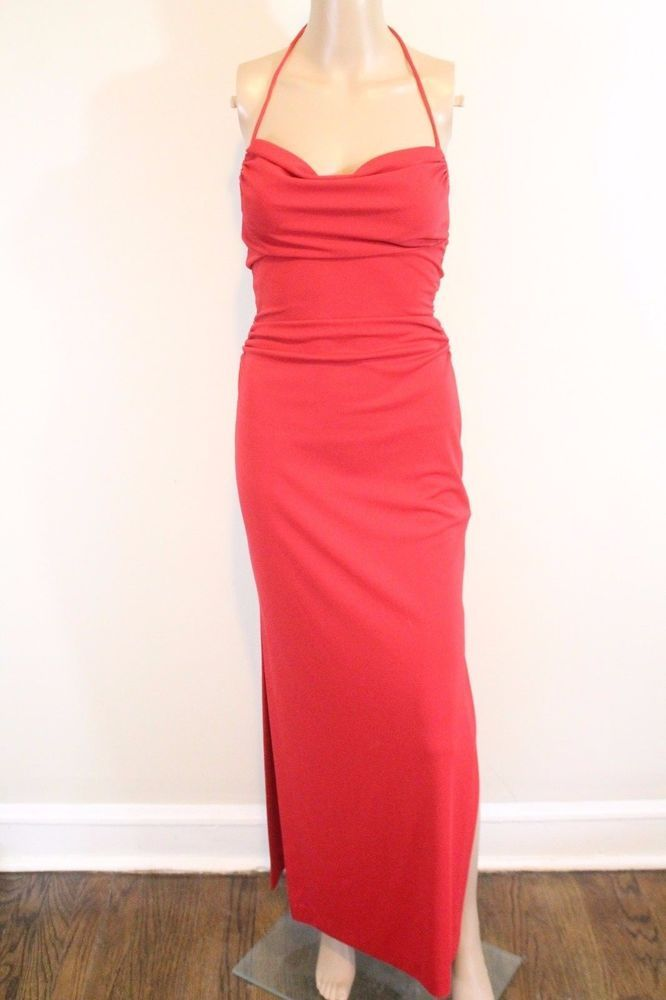 e7d056d6db Nicole Miller  425 Ruched Halter Maxi Dress SZ 2 Red Holiday High Slit  Cocktail  NicoleMiller  Maxi  Formal