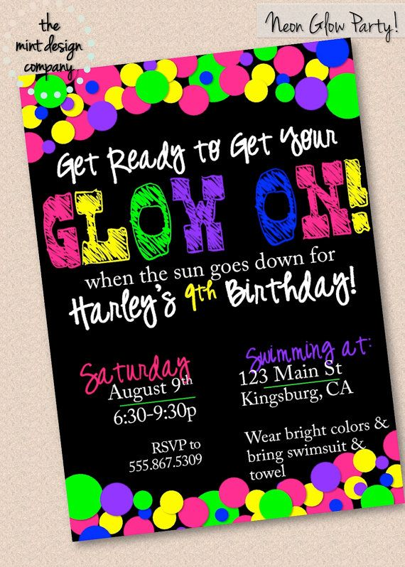 Neon Glow In The Dark Party Invitation by themintdesigncompany