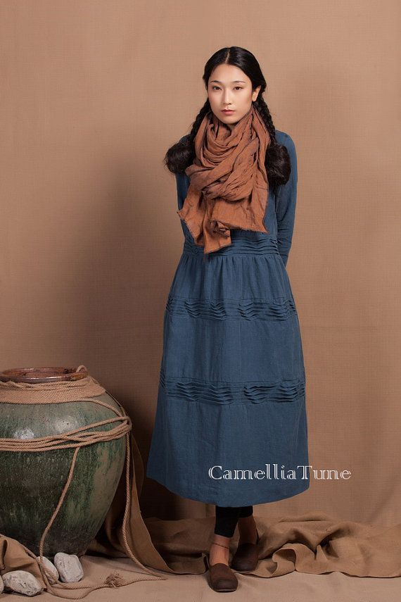 Завышение Синий свободные платья / Асимметричная Экстравагантный реглан с длинными рукавами Туника / Maxi Dress
