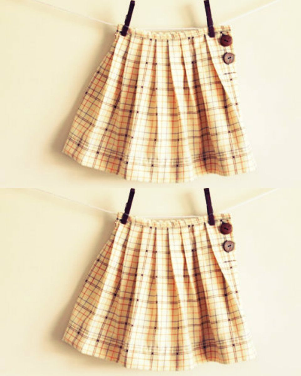 FREE Pleated Skirt with Buttons Sewing Pattern and Tutorial