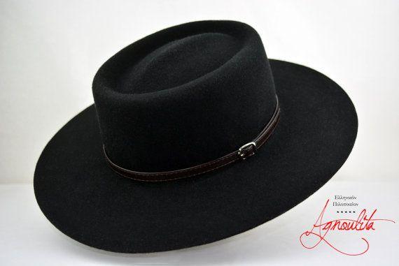 fbc3965602d Ray Bans · Women Hats · Window Shopping · Black Wool Felt Gambler Wide Brim  Wool Felt Handmade Gambler