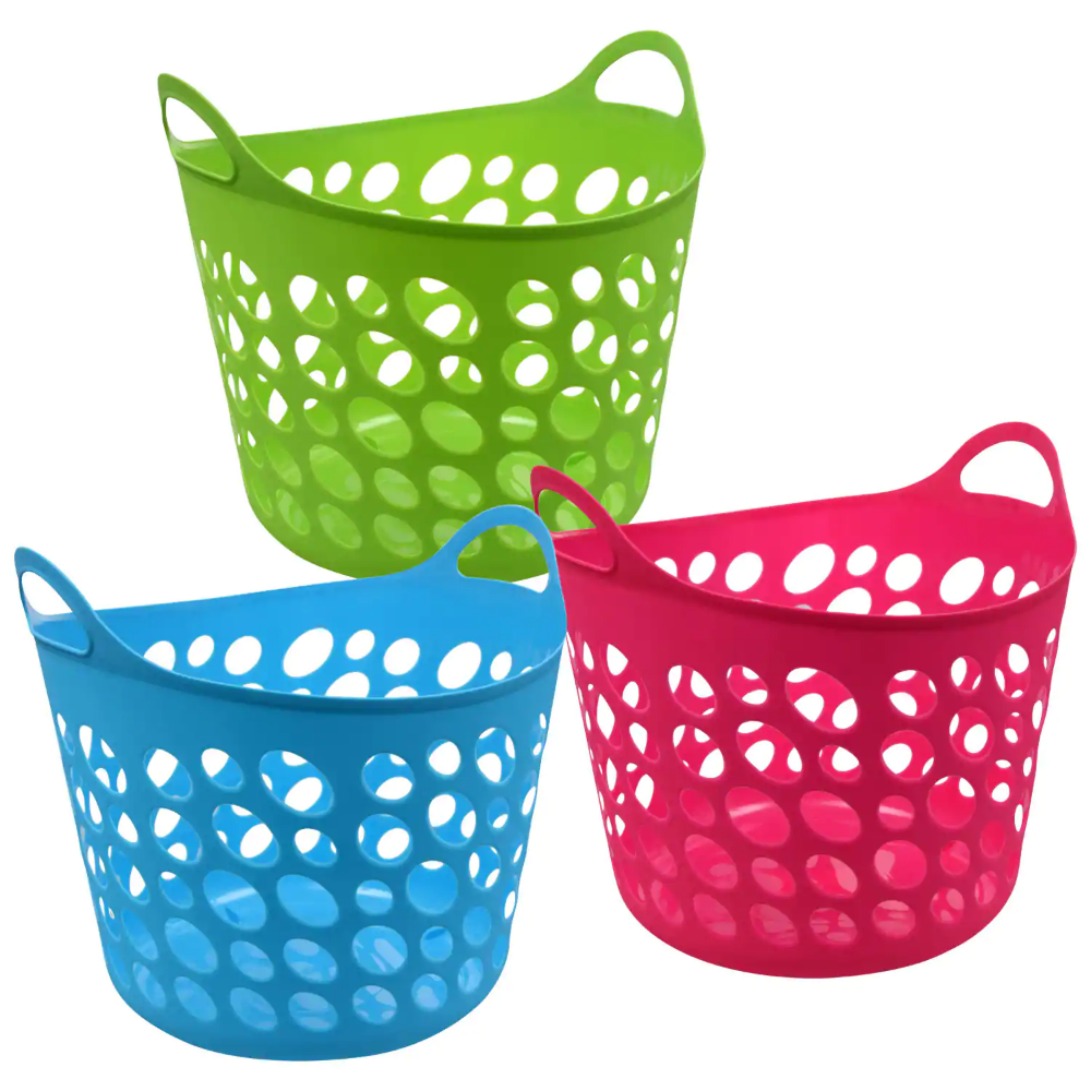Colorful Plastic Laundry Baskets With Handles 11 75x12x11 In Plastic Laundry Basket Laundry Basket Dollar Tree Organization