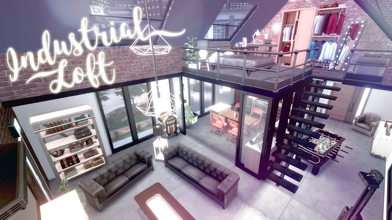 New York Industrial Loft The Sims 4 City Living Speed Build Cc Free Download Links Youtube In 2020 Sims 4 City Living Sims 4 Loft Sims House Design
