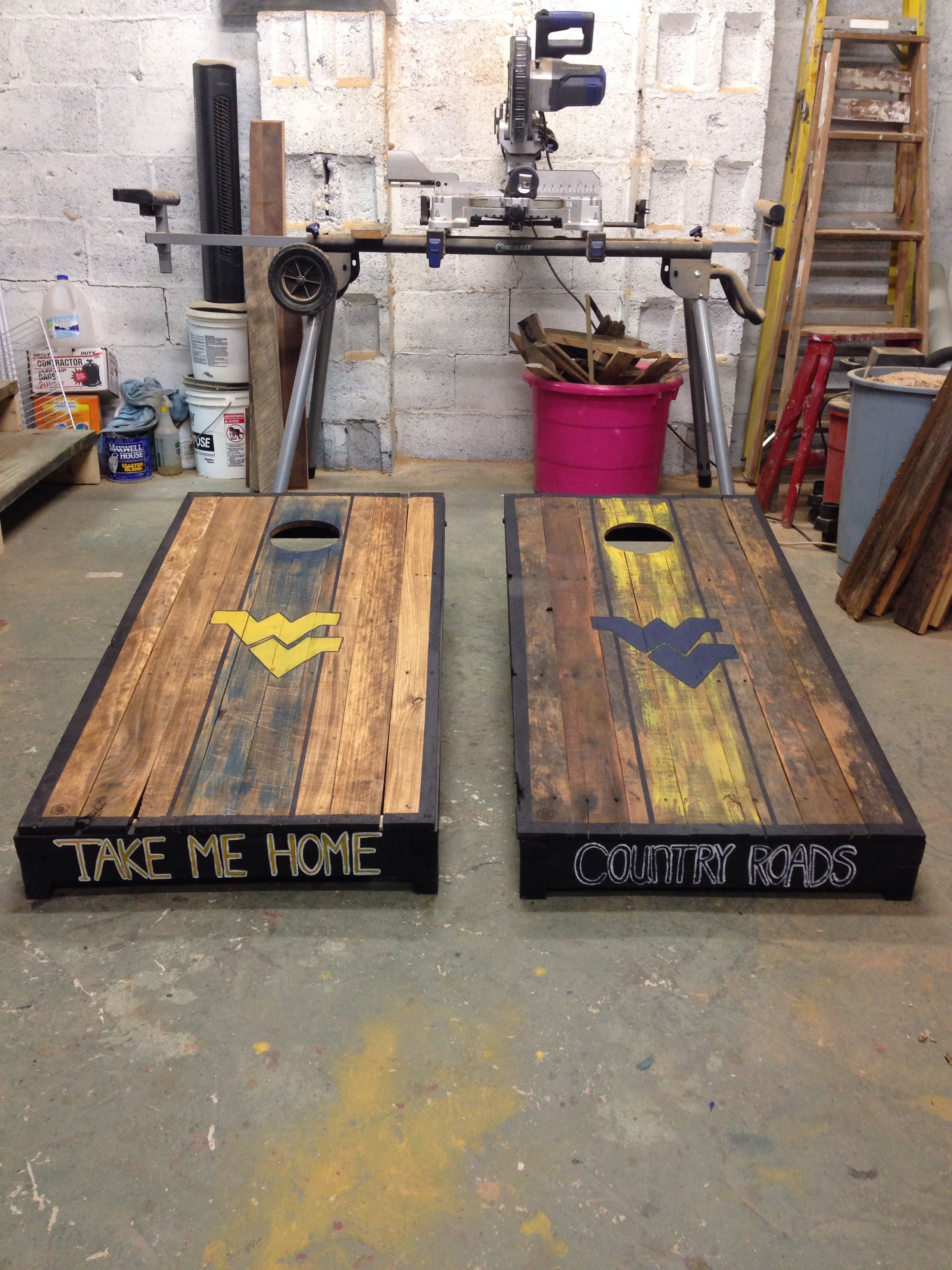 Pallet Wvu Cornhole Boards Ideas Diy