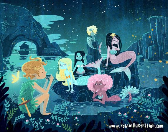 Peter Pan Mermaid Lagoon 8x10 art print | ✧✯Peter Pan ...