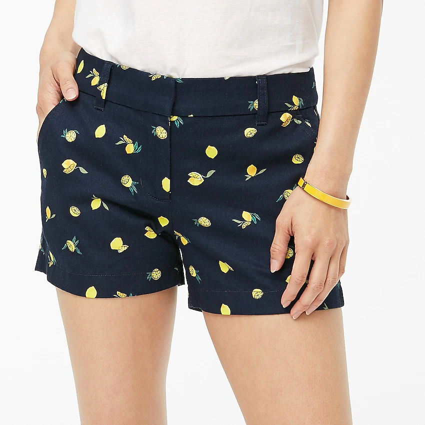 Womens 4 Yellow Lemon Fruit Print Cotton Shorts J Crew Factory