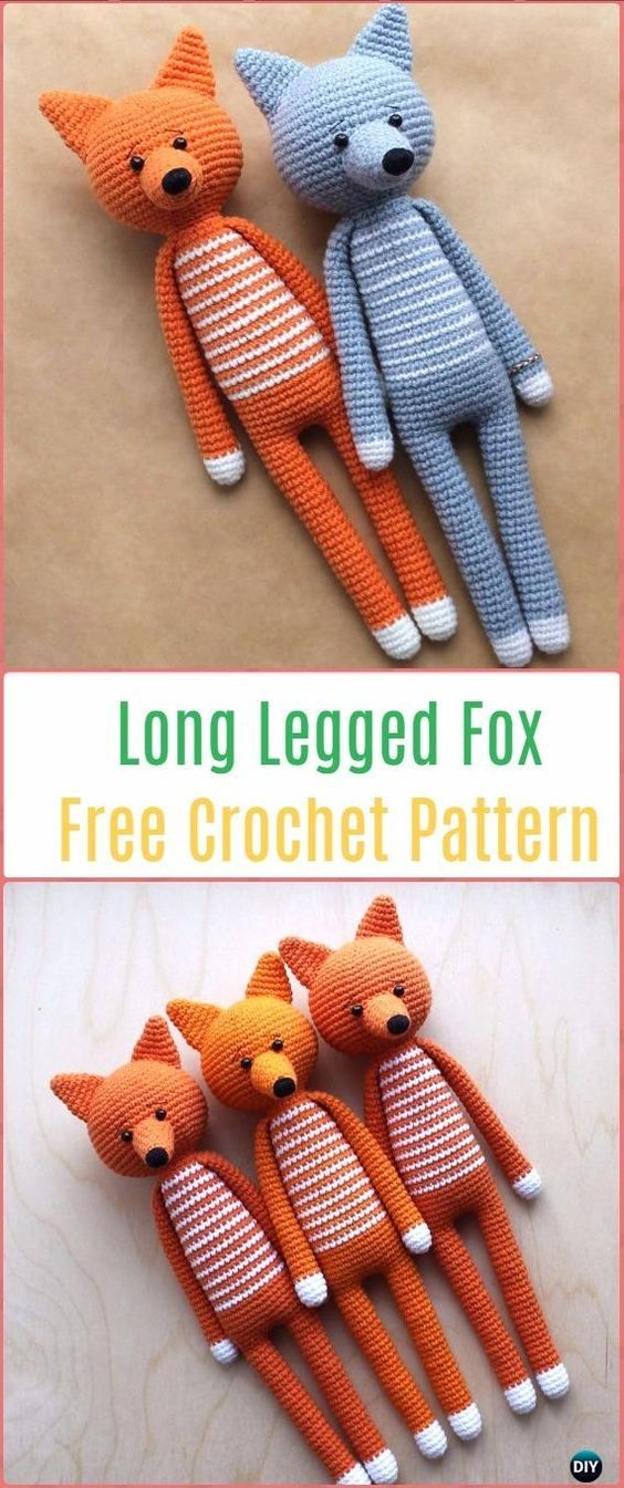 Crochet Amigurumi Long Legged Fox Free Pattern | Hilo, Lana y ...