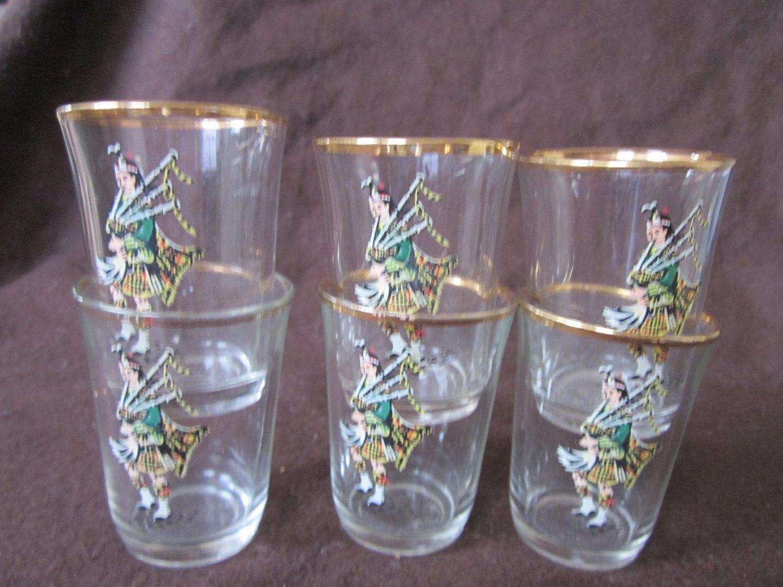 Vintage  Scottish Piper Shot Glasses, Set Of Six, Gold Rimmed, Highland Vintage Barware. by Yesterdayshome on Etsy