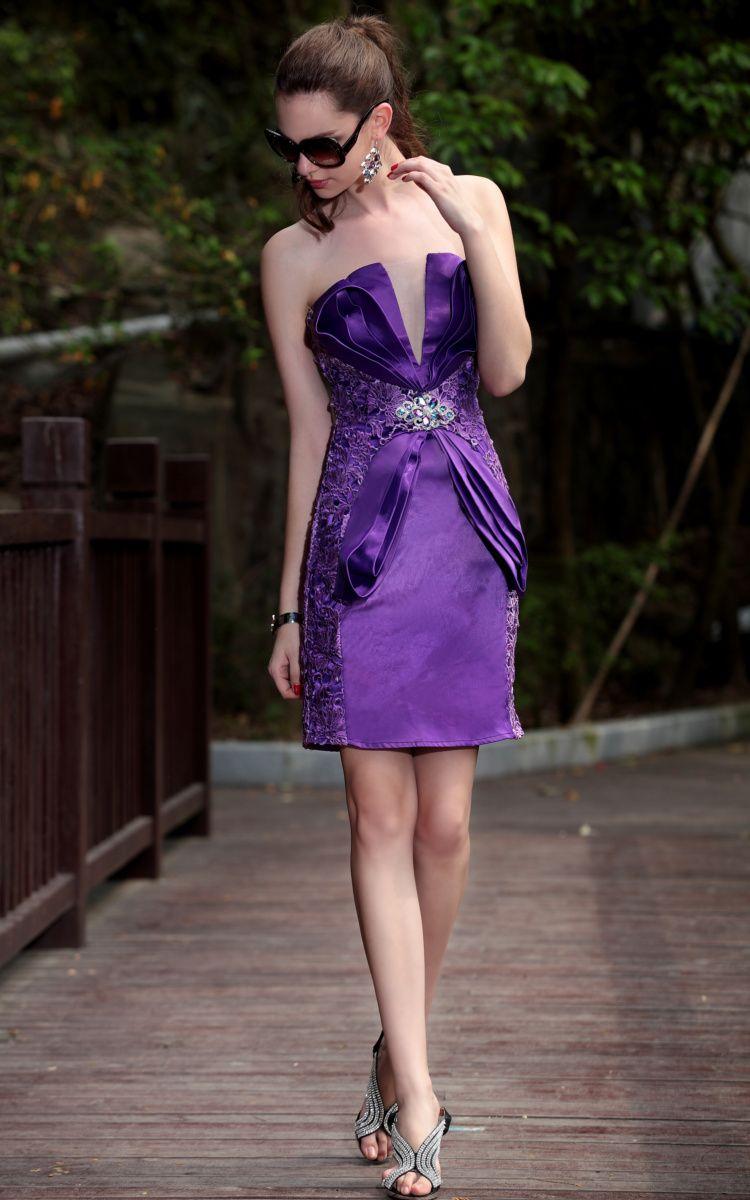 Fashion vintage purple short bandeau embroidery formal dress lace