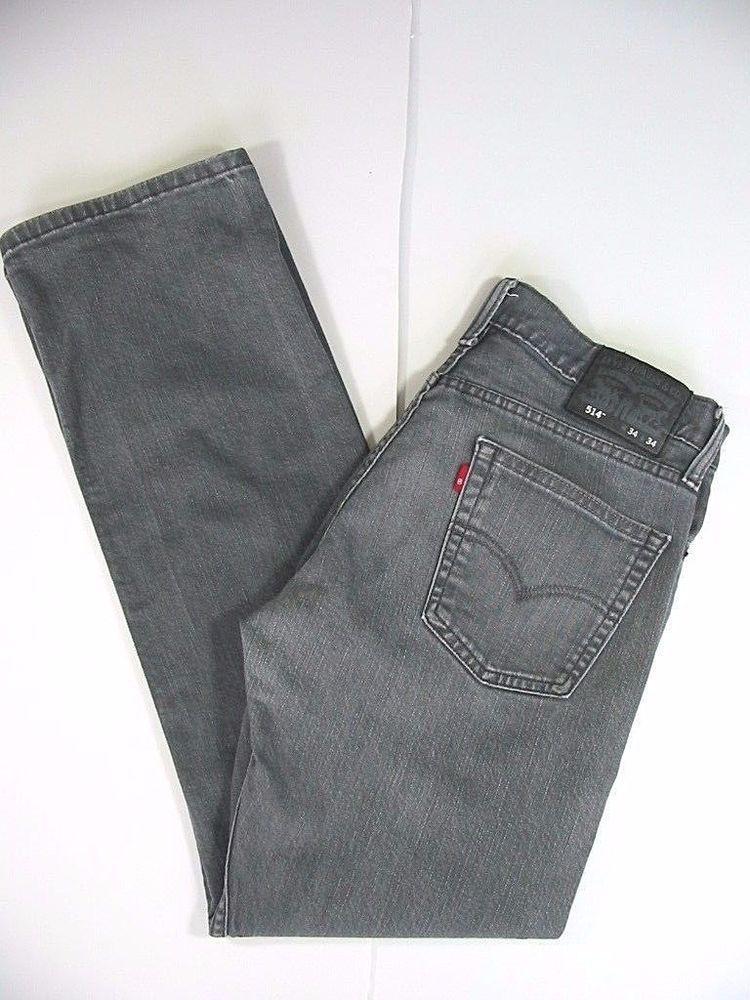 Levi Strauss 514 Straight Fit Mens Jeans Black Gray Size W34 L34 Levis Straightfit