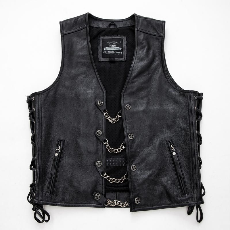 Genuine Leather Motorcycle Vest Leather Waistcoat Mens Leather Jacket Biker Motorcycle Vest