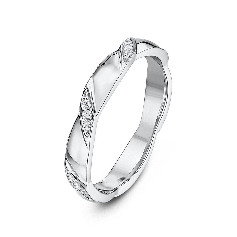 Theia 9ct White Gold Celtic Design 0.06ct Round Diamond 5mm Wedding Ring CgPCvtPKr