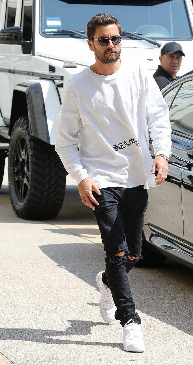 Scott Disick Steps Out In LA Wearing Stampd T Shirt And Nike