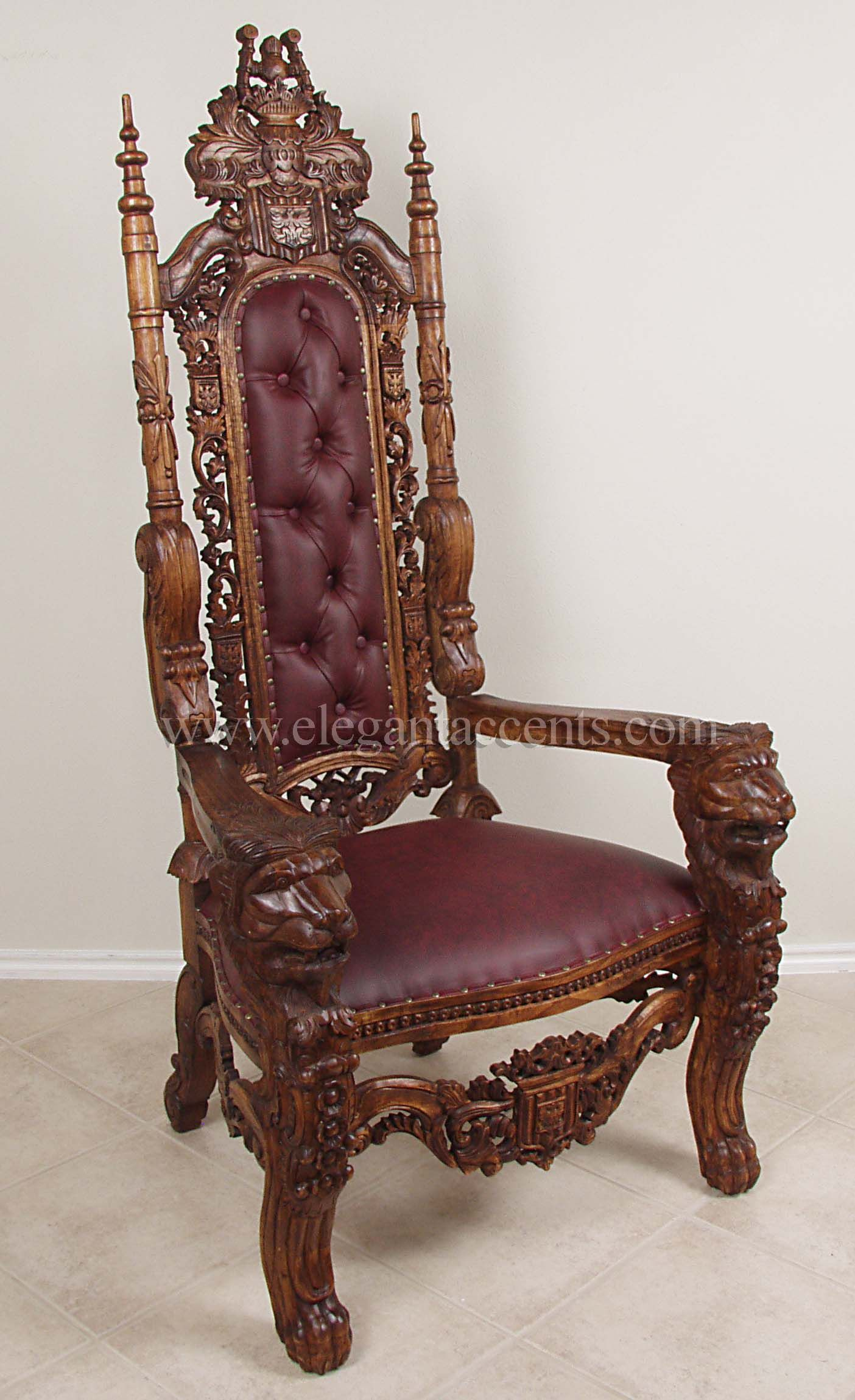 King Lion Throne Chair Wax Burgundy Rustic Living Room Furniture Victorian Furniture Deco Furniture