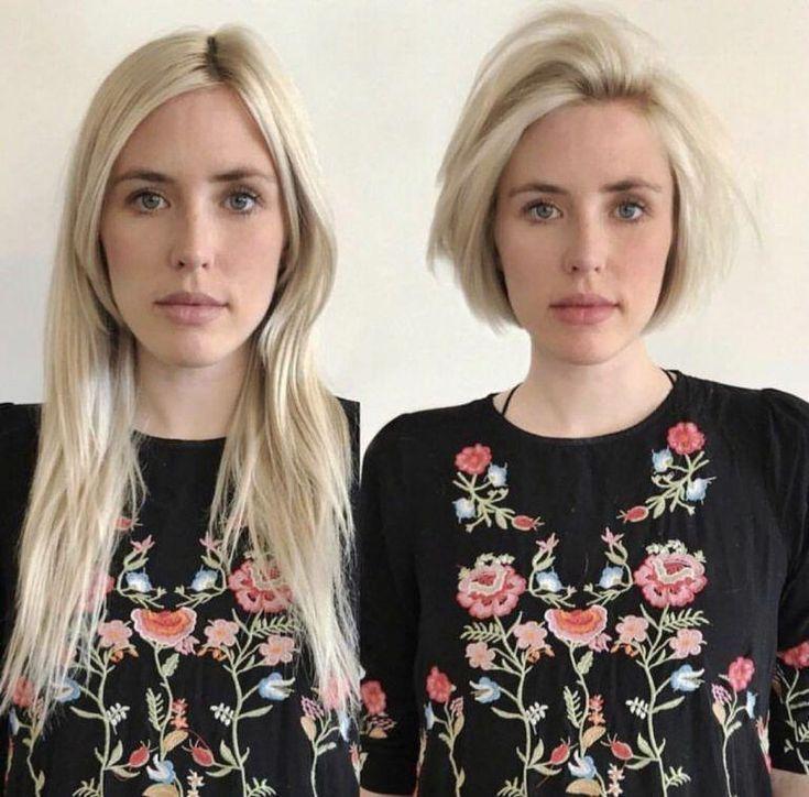 Langes bis kurzes Haar Vorher und Nachher, kurze Frisuren
