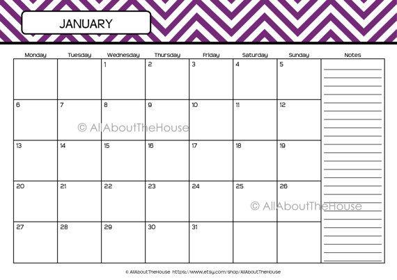 Family Calendar 2015 Printable : Printable calendar perpetual chevron