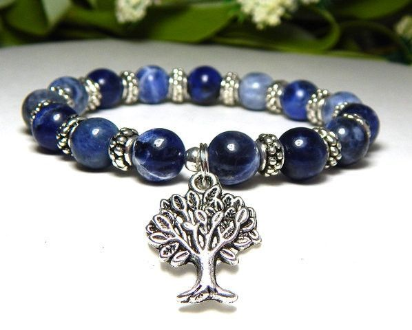 Calming Bracelet with a Tree of Life Charm and Blue Sodalite ...