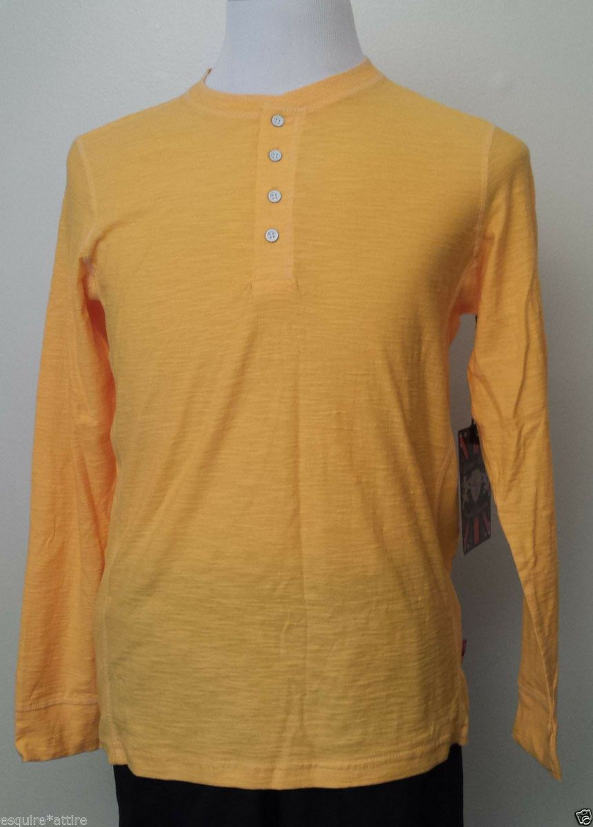 Lions Crest By English Laundry Men Henley Shirt Size S Yellow