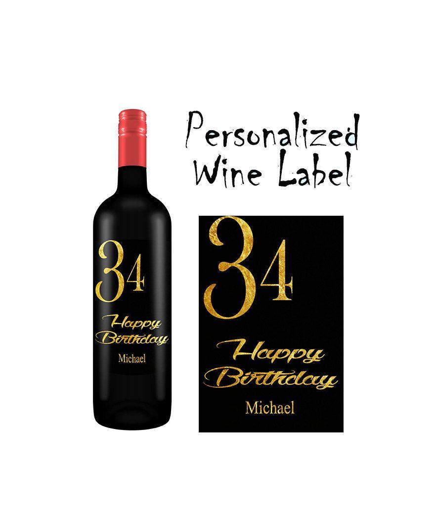 Personalisiertes Weinflaschen Etikett Wein Etikett Geburtstags Etiket Druckbares Flaschenetikett Druc Personalized Wine Labels Wine Label Personalized Wine