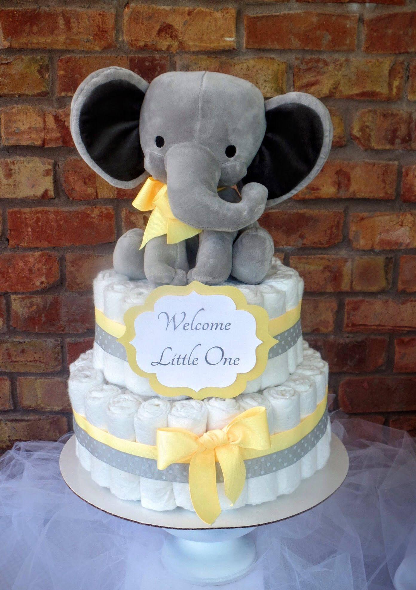 Elephant Diaper Cake Diaper Cake Baby Shower Decoration Yellow Diaper Cake Girl Diaper Cake Boy Diaper Cake Elephant Diaper Cakes Diaper Cake Boy Elephant Baby Shower Centerpieces
