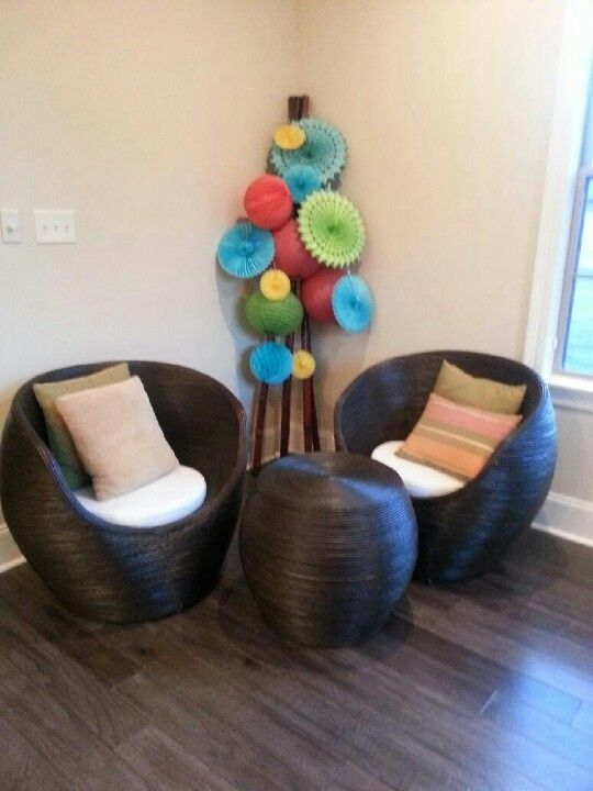 Liven up the corner with color attached to bamboo with fishing line!!
