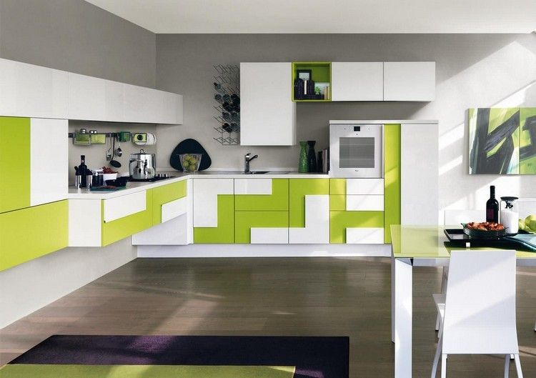 diseo de cocina en blanco y verde
