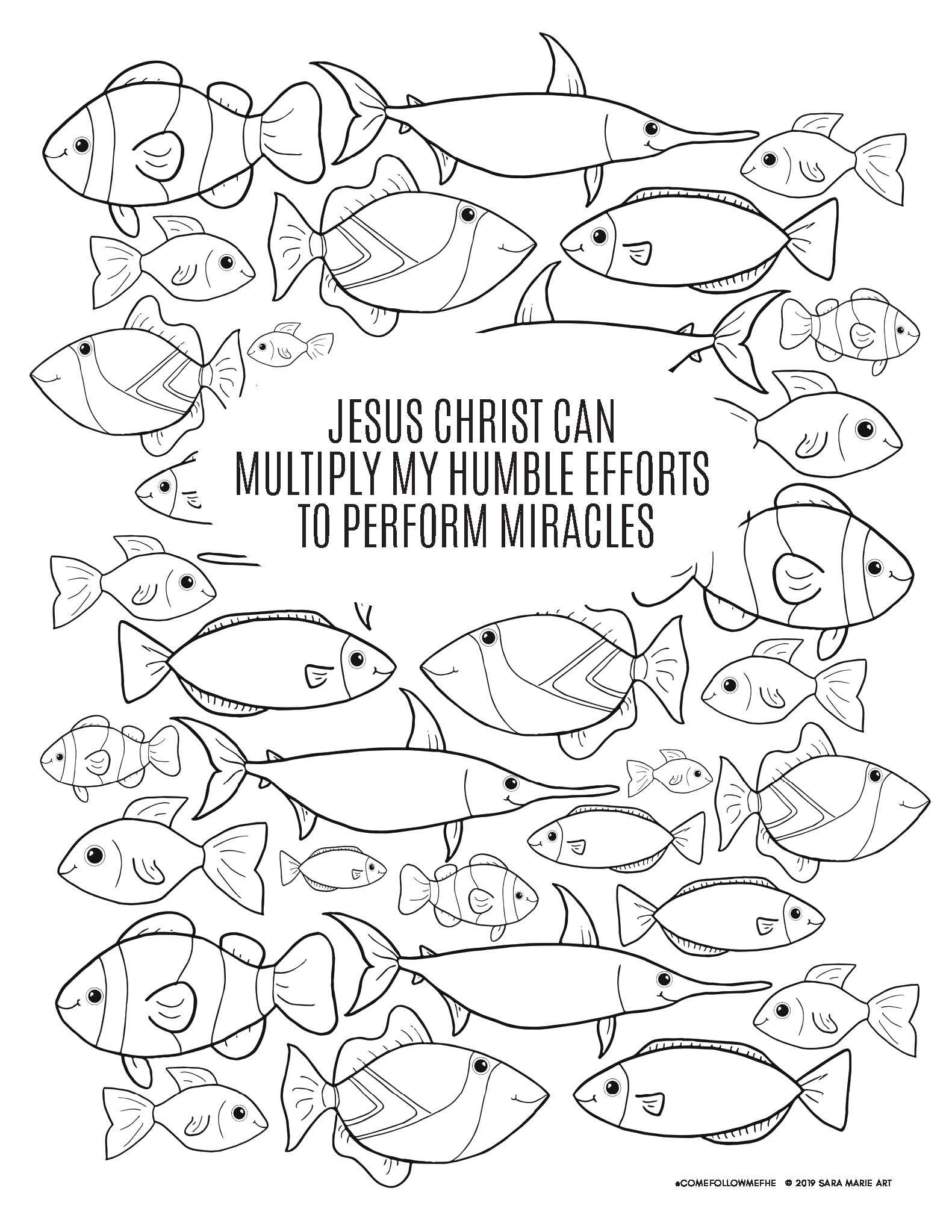 Be Not Afraid Loaves Fishes Bible Coloring Pages Lds