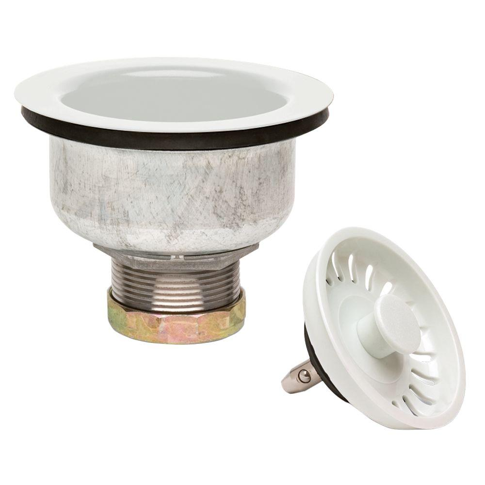Glacier Bay 4 5 In Double Cup Kitchen Sink Strainer In White