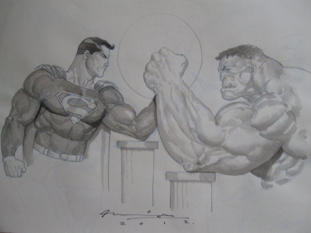 Superman vs Hulk by Ariel Olivetti Comic Art