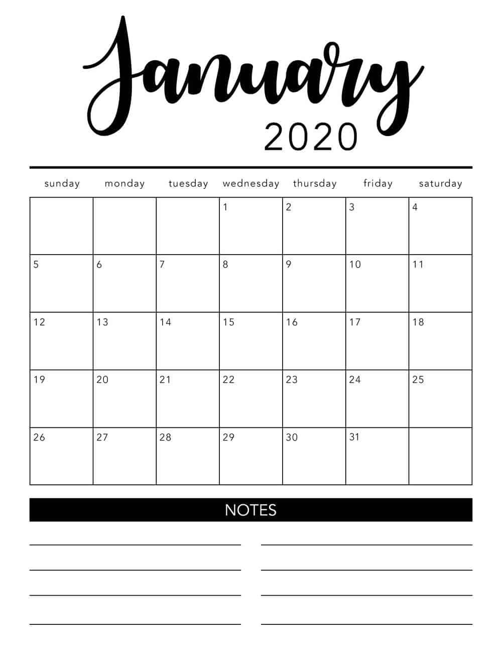 Printable Calendar Monthly 2020 In 2020 Monthly Calendar