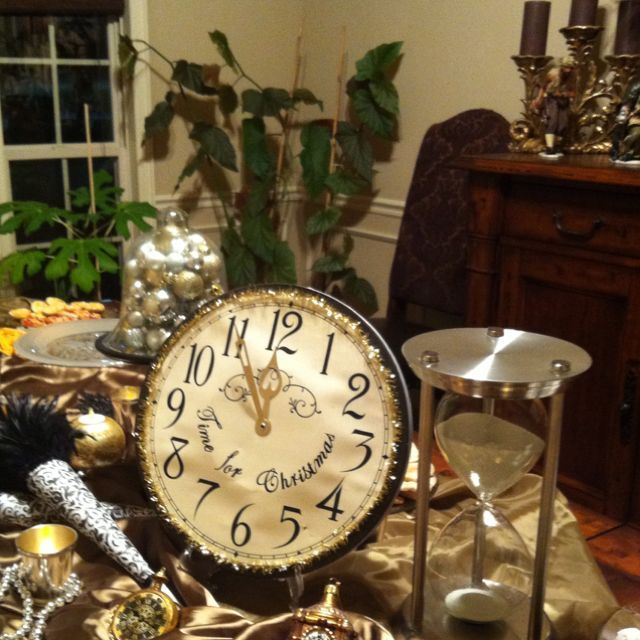Dining table set for New Years Eve buffet, gold, silver ...