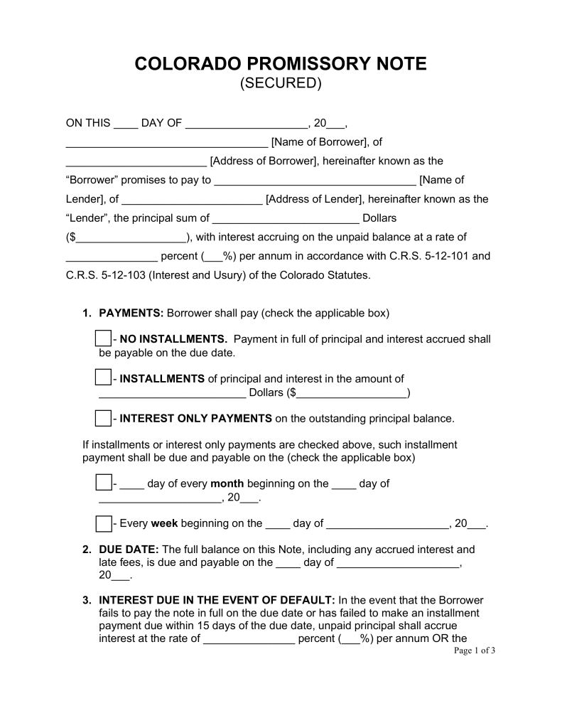 Free Colorado Secured Promissory Note Template