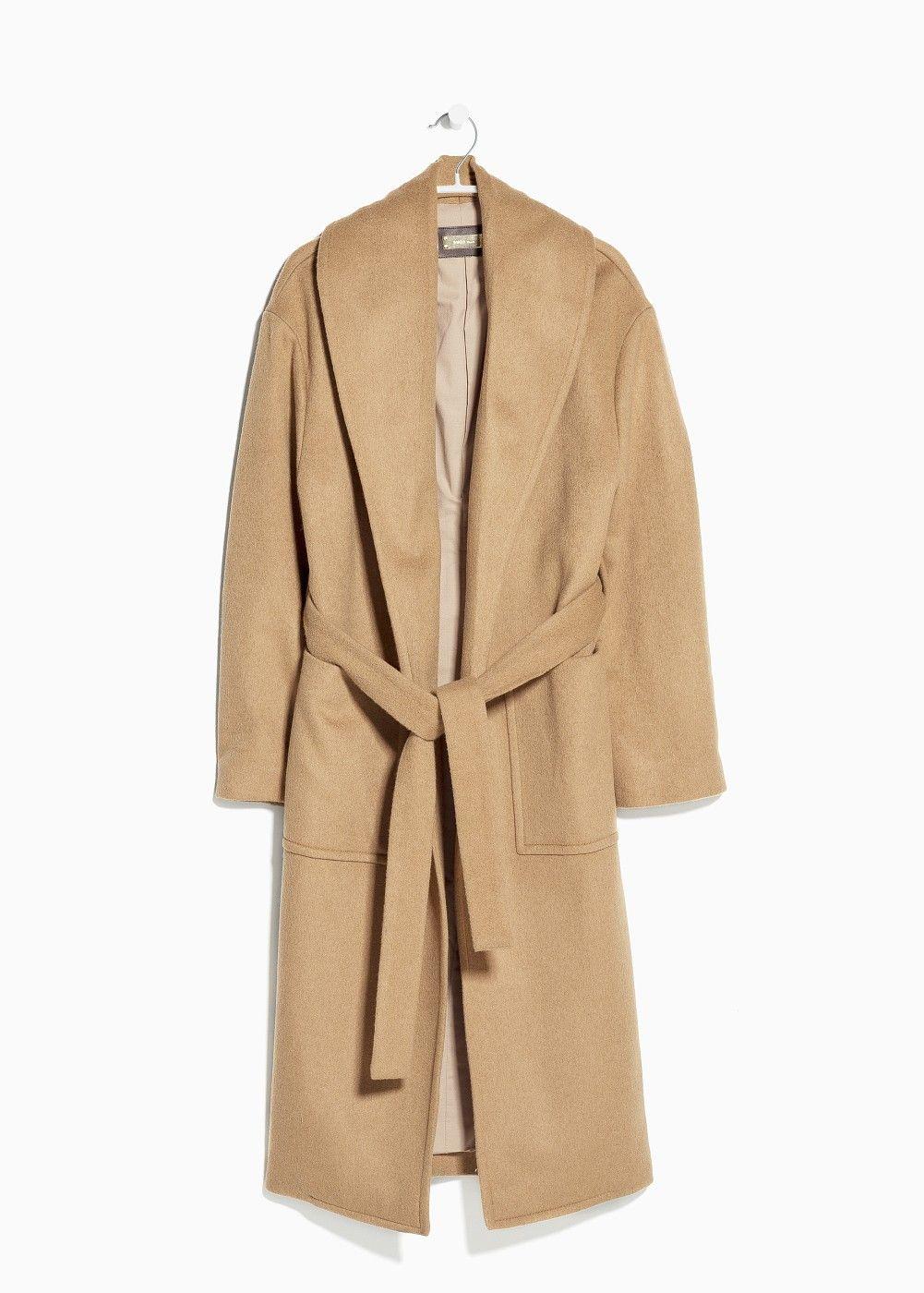 Manteau camel femme ceinture