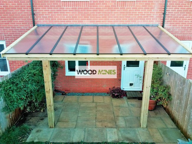 WoodMines Outdoor Living Garden Lean To Canopy With Clear Roof.