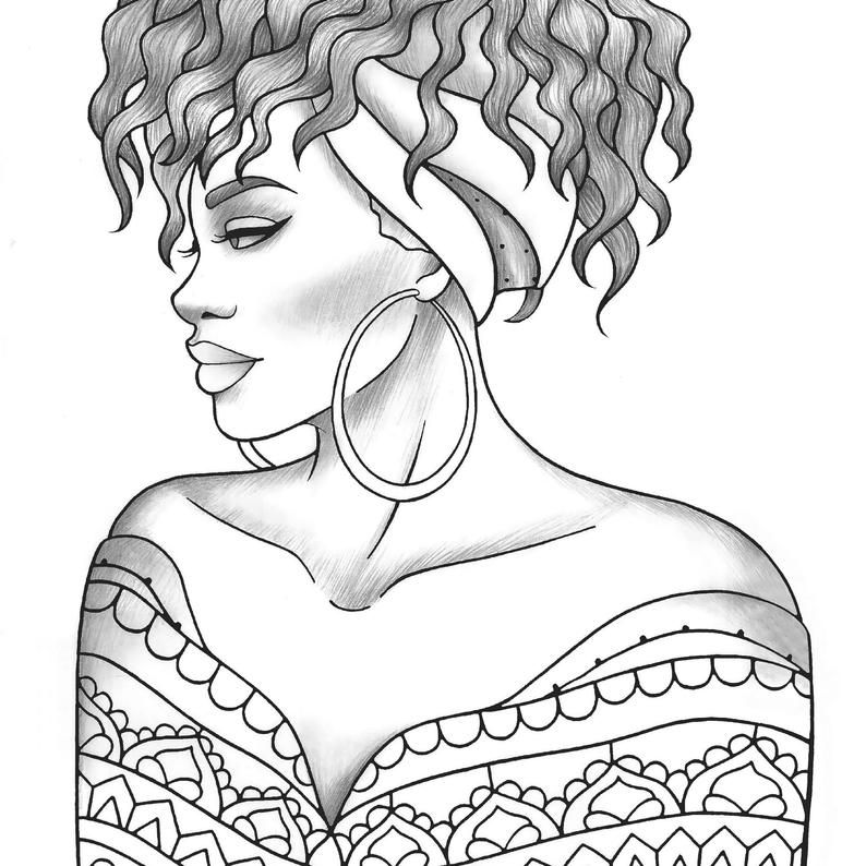 Printable coloring page black girl portrait and clothes