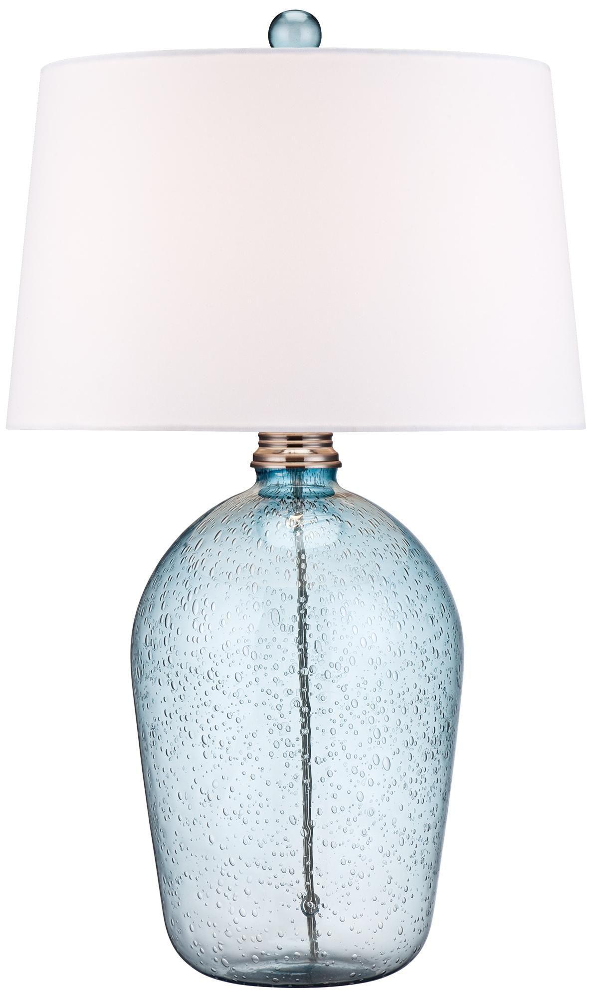 Hand Blown Blue Bubble Glass Table Lamp W6758 Lamps Plus Glass Table Lamp Blue Glass Lamp Lamp