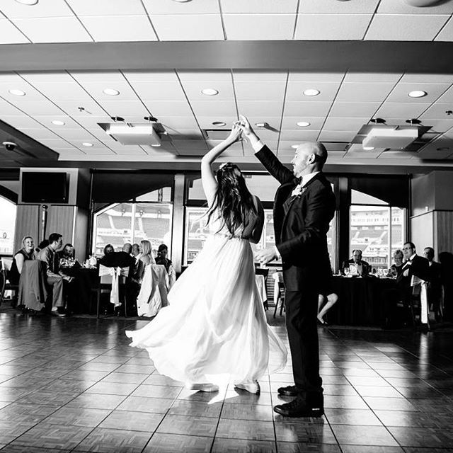 First dance in PNC Park. #krystalhealyphotography  #pncpark #pncparkwedding #pittsburghwedding #firstdance