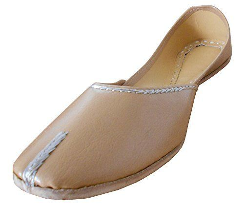 Kalra Creations Womens Traditional Cream Leather Ethnic Shoes 95 M >>> Read more at the image link.