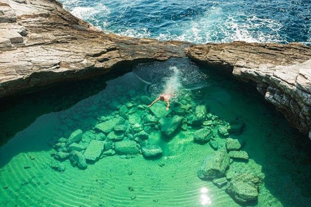Giola Island, a natural swimming pool, Thassos Greece