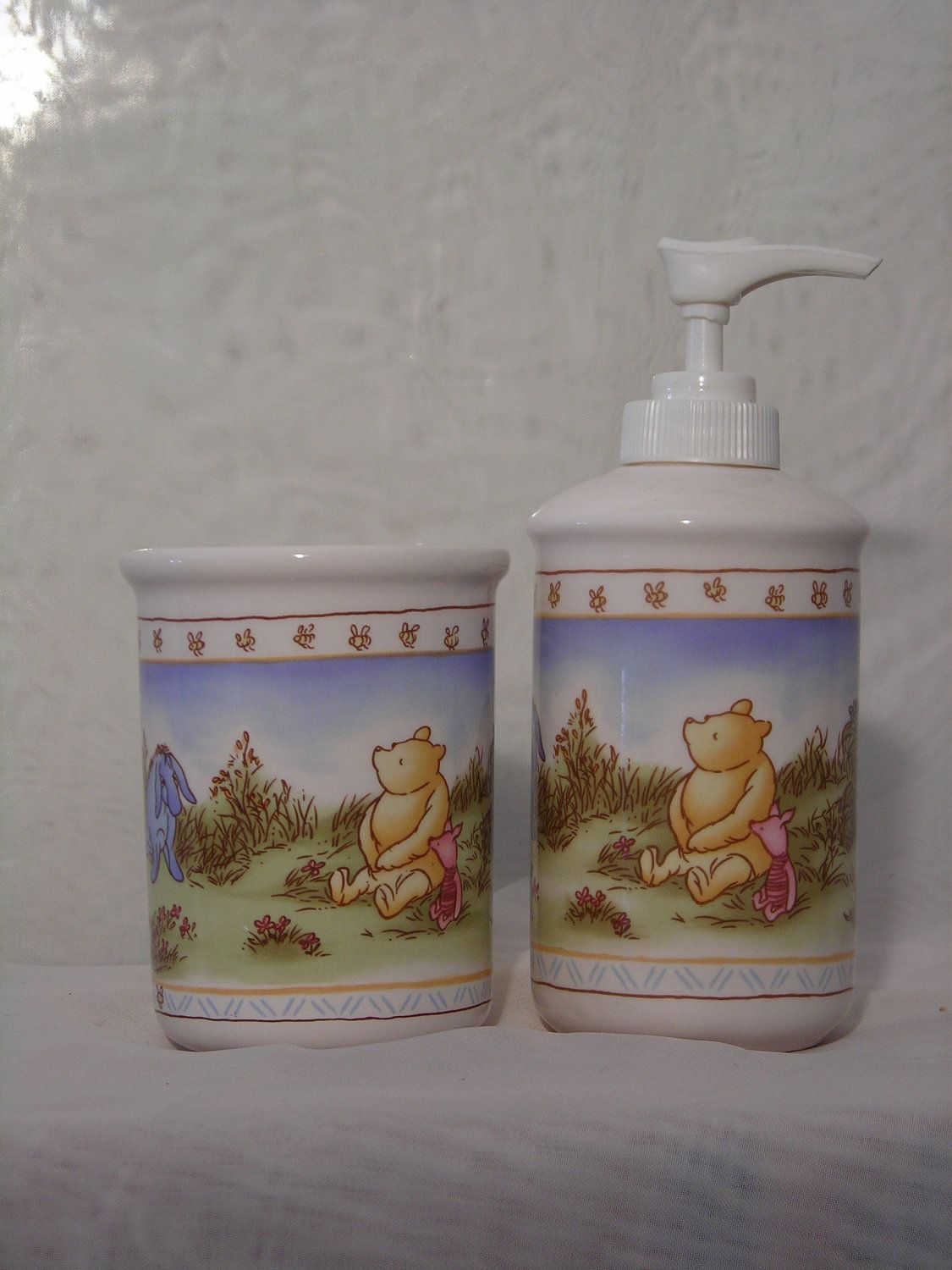 Set Of 2 Two Bathroom Accessories Liquid Soap Container And Cup Ceramic Etsy