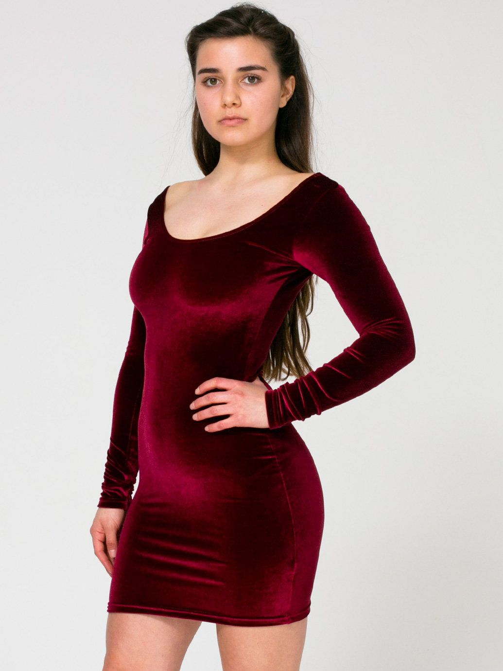 Velvet Long Sleeve Mini Dress £42.00 Burgandy (Cover) Model: Amy