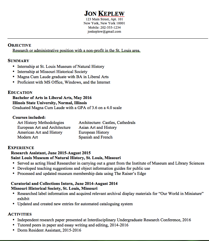 Liberal Arts Sample Resume  HttpExampleresumecvOrgLiberal