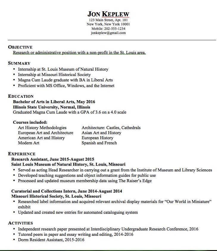 Liberal Arts Sample Resume Examples Resume Cv