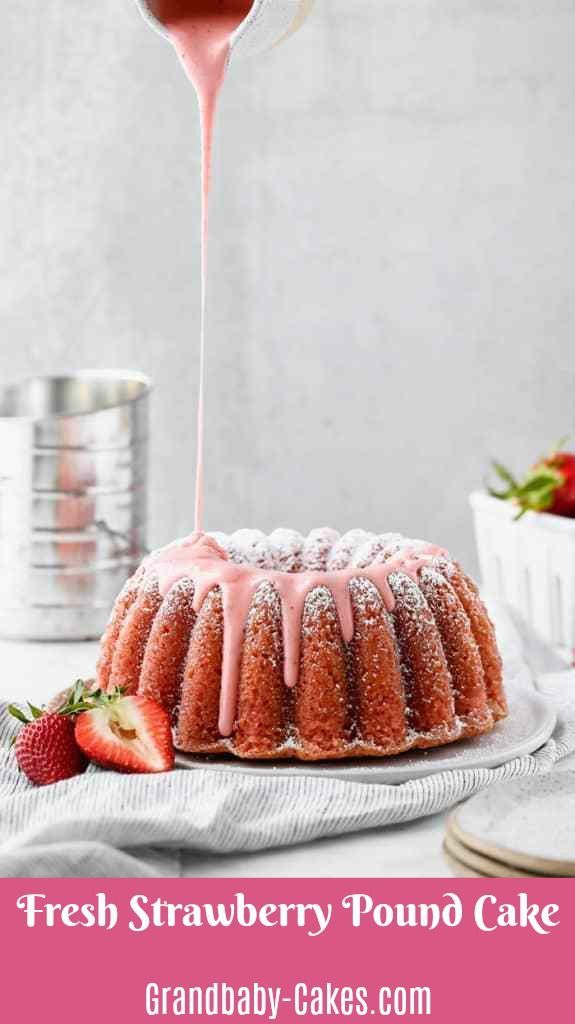 Photo of The BEST Strawberry Cake! –  A delicious pound cake, perfectly dense, but so moi…