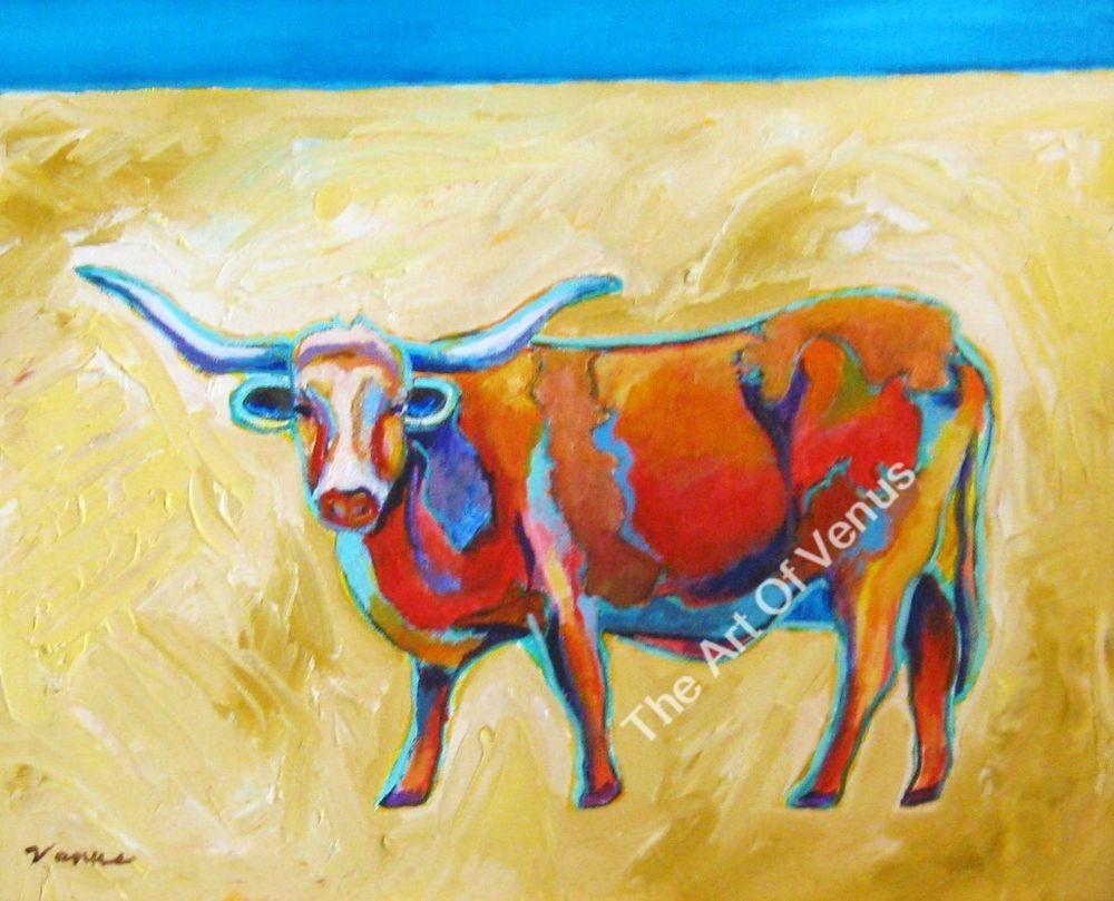 SIGNED Original Painting Art Print TEXAS LONGHORN Animal Cowboy ...